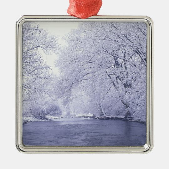 USA, Kentucky, Louisville. Snow covered Metal Ornament