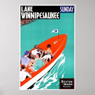 USA Lake Winnipesaukee Restored Vintage Poster