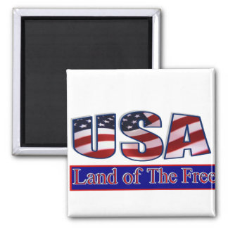 USA - LAND OF THE FREE 2 INCH SQUARE MAGNET