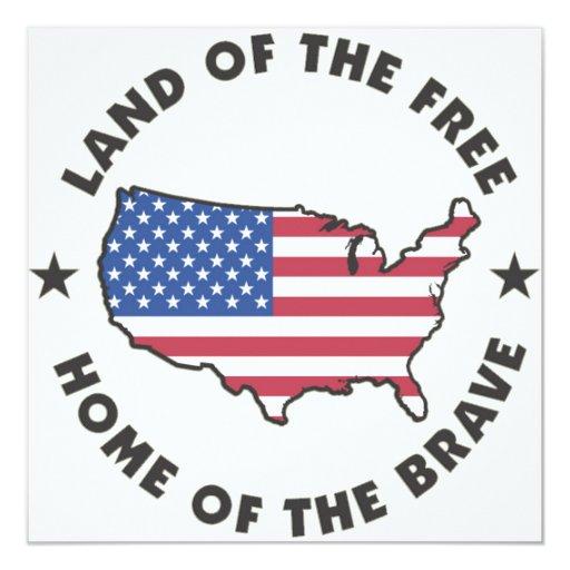 USA Land of the Free Invitations