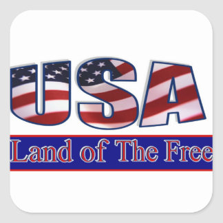 USA - LAND OF THE FREE SQUARE STICKER