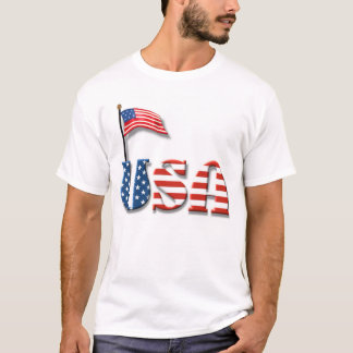 USA Letters and American Flag T-Shirt