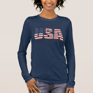 USA Letters Make The American Flag Long Sleeve T-Shirt