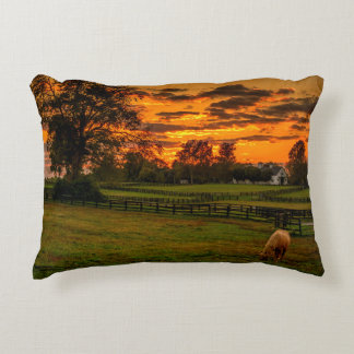 USA, Lexington, Kentucky. Lone horse at sunset 1 Decorative Pillow