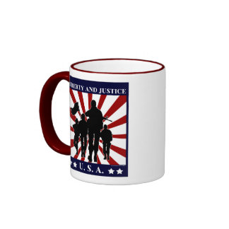 USA Liberty and Justice Soldiers Patriotic Mug