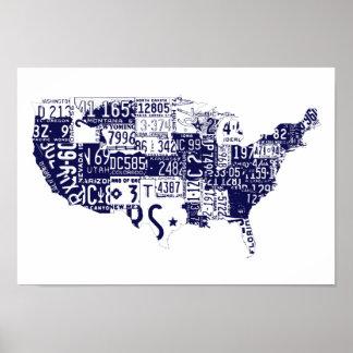 USA license plates blue Poster
