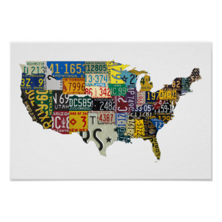 USA license plates Poster