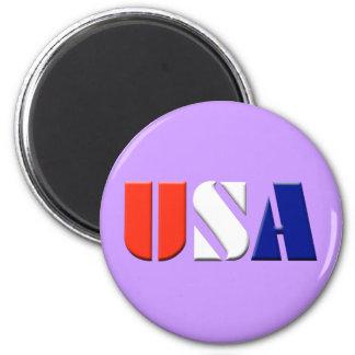 USA - (light purple) 2 Inch Round Magnet