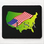 USA limette+Flagge Mousepads