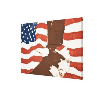 USA, Louisiana, Port Allen. Patriotic mural Stretched Canvas Print