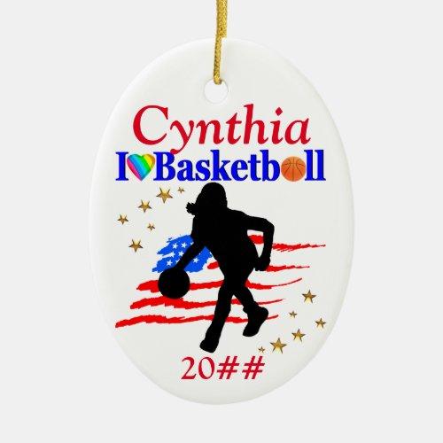 USA LOVE BASKETBALL PERSONALIZE CHRISTMAS ORNAMENT