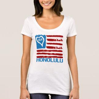 USA LOVE HONOLULU PAINT INSPIRED FLAG Tee