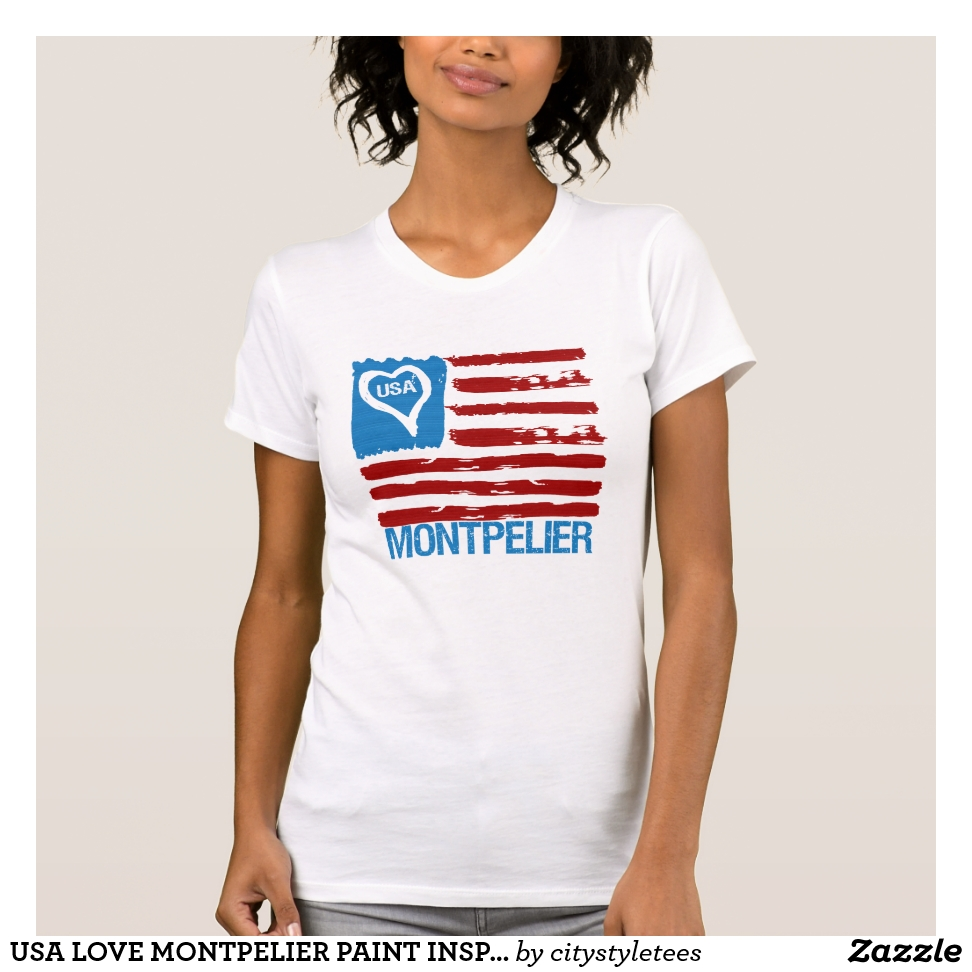 USA LOVE MONTPELIER PAINT INSPIRED FLAG CITY T-Shirt - Best Selling Long-Sleeve Street Fashion Shirt Designs