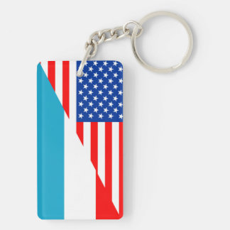 usa luxembourg country half flag america symbol keychain