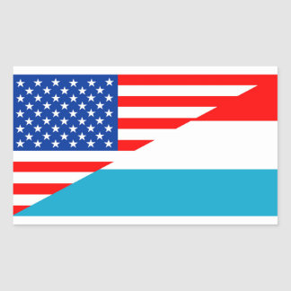 usa luxembourg country half flag america symbol rectangular sticker