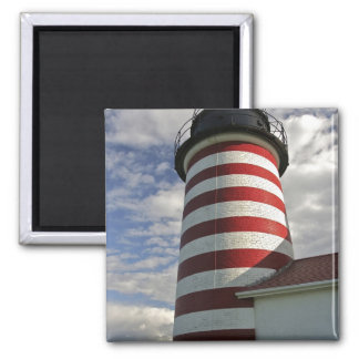 USA, Maine, Lubec. West Quoddy Head LIghthouse 2 Inch Square Magnet