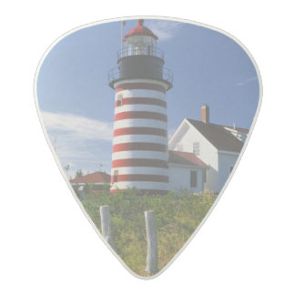USA, Maine, Lubec. West Quoddy Head Lighthouse Acetal Guitar Pick