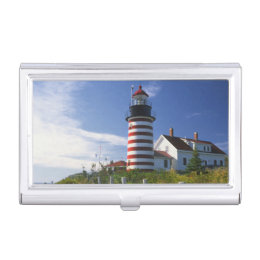 USA, Maine, Lubec. West Quoddy Head Lighthouse Business Card Holder