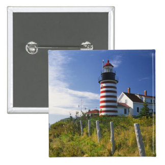USA, Maine, Lubec. West Quoddy Head Lighthouse Button