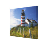 USA, Maine, Lubec. West Quoddy Head Lighthouse Gallery Wrap Canvas