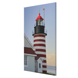 USA, Maine, Lubec. West Quoddy Head Lighthouse, Canvas Print