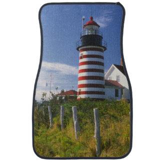 USA, Maine, Lubec. West Quoddy Head Lighthouse Car Floor Mat