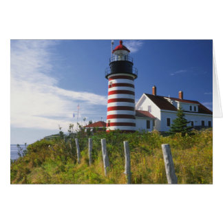 USA, Maine, Lubec. West Quoddy Head Lighthouse Card