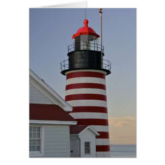 USA, Maine, Lubec. West Quoddy Head Lighthouse, Greeting Card