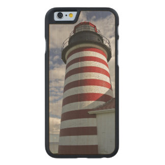 USA, Maine, Lubec. West Quoddy Head LIghthouse Carved® Maple iPhone 6 Case