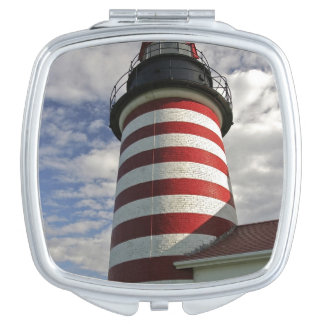 USA, Maine, Lubec. West Quoddy Head LIghthouse Compact Mirror