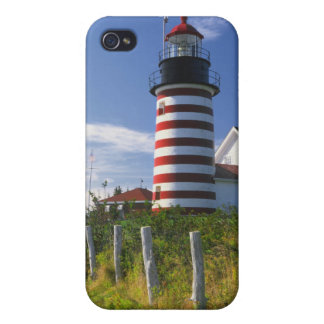 USA, Maine, Lubec. West Quoddy Head Lighthouse Covers For iPhone 4