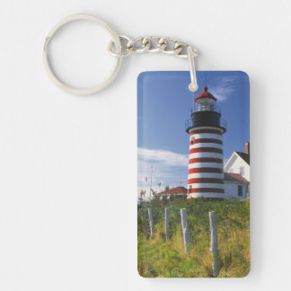 USA, Maine, Lubec. West Quoddy Head Lighthouse Double-Sided Rectangular Acrylic Keychain
