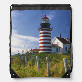 USA, Maine, Lubec. West Quoddy Head Lighthouse Drawstring Backpack