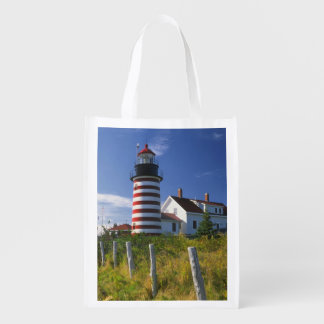 USA, Maine, Lubec. West Quoddy Head Lighthouse Grocery Bag
