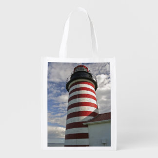 USA, Maine, Lubec. West Quoddy Head LIghthouse Grocery Bags