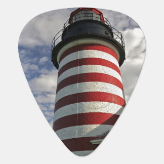 USA, Maine, Lubec. West Quoddy Head LIghthouse Guitar Pick