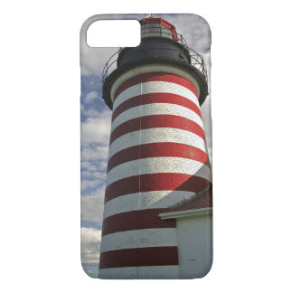 USA, Maine, Lubec. West Quoddy Head LIghthouse iPhone 7 Case