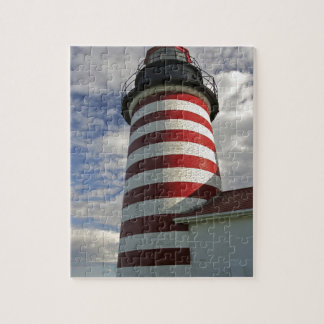 USA, Maine, Lubec. West Quoddy Head LIghthouse Jigsaw Puzzle