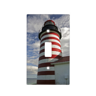 USA, Maine, Lubec. West Quoddy Head LIghthouse Light Switch Cover