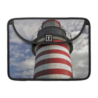 USA, Maine, Lubec. West Quoddy Head LIghthouse MacBook Pro Sleeve