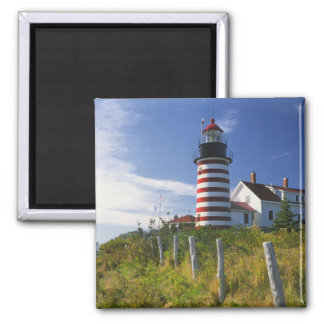 USA, Maine, Lubec. West Quoddy Head Lighthouse Magnet