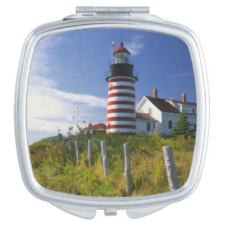 USA, Maine, Lubec. West Quoddy Head Lighthouse Mirror For Makeup