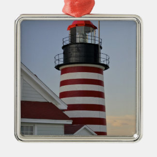 USA, Maine, Lubec. West Quoddy Head Lighthouse, Square Metal Christmas Ornament