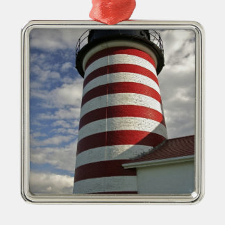 USA, Maine, Lubec. West Quoddy Head LIghthouse Square Metal Christmas Ornament
