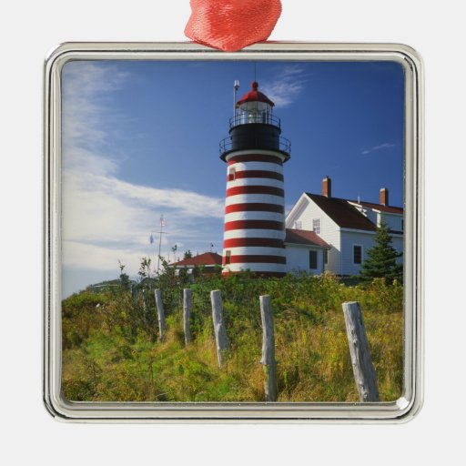 USA, Maine, Lubec. West Quoddy Head Lighthouse Ornament