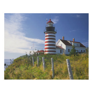 USA, Maine, Lubec. West Quoddy Head Lighthouse Panel Wall Art