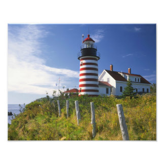 USA, Maine, Lubec. West Quoddy Head Lighthouse Photo Print