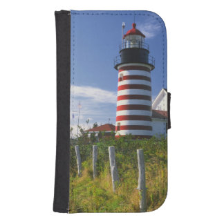 USA, Maine, Lubec. West Quoddy Head Lighthouse Galaxy S4 Wallet Cases