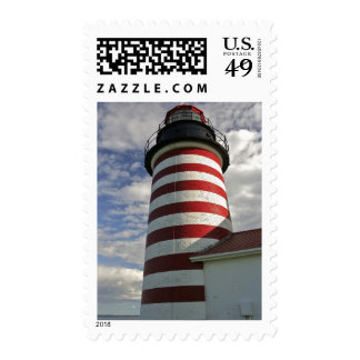USA, Maine, Lubec. West Quoddy Head LIghthouse Postage Stamps