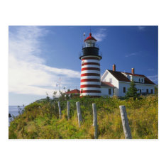 Usa, Maine, Lubec. West Quoddy Head Lighthouse Postcard at Zazzle